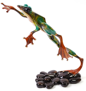 Title: Leap Frog , Medium: bronze sculpture