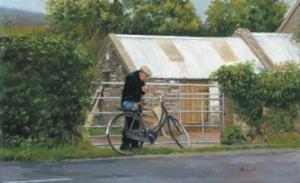 Title: Man With Bicycle , Size: 20x32 , Medium: giclee on canvas-emb.