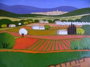 Title: Au Pied de la Vigne , Size: 15x18 , Medium: oil painting on canvas