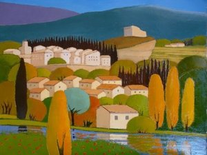 Title: Au Pied du Chateau , Size: 19.75x24 , Medium: oil painting on canvas
