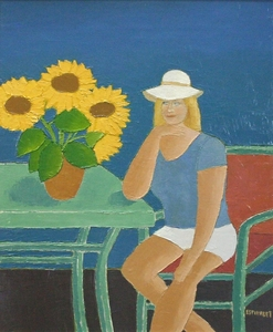 Title: La Fille Au Chapeau , Size: 28x23 , Medium: oil painting on canvas