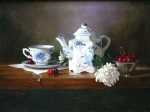 Title: Tea With Cherries , Size: 14x18 , Medium: oil painting on canvas