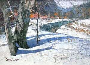 Title: Frozen Stream , Size: 5.5x7.5 , Medium: oil on board