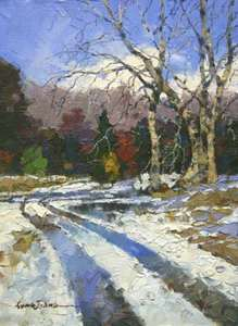 Title: Snow Path , Size: 7.5x5.5 , Medium: oil on board