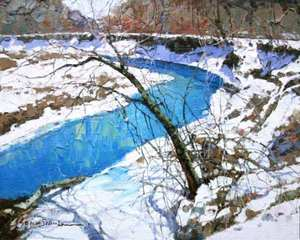 Title: Winter Stream , Size: 8x10 , Medium: oil on board