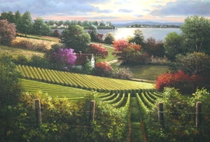 Title: Afternoon At the Vineyard , Size: 26x38 , Medium: oil painting on canvas