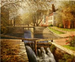 Title: Autumn in Georgetown, C&O Canal , Date: 02/23/05 , Medium: giclee on canvas-emb.