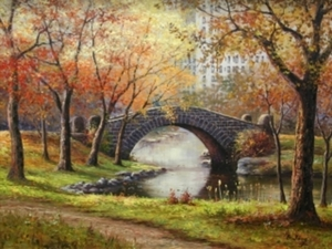 Title: Autumn in Central Park , Size: 18x24 , Medium: oil painting on canvas
