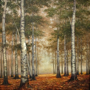 Title: The Birch Trees, Autumn , Size: 32x32 , Medium: oil painting