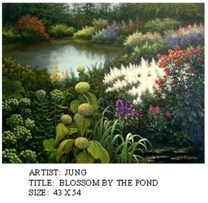 Title: Blossom By The Pond , Medium: oil painting