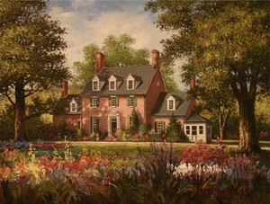 Title: Blossoms by The Green Spring House , Size: 18x24 , Medium: oil painting