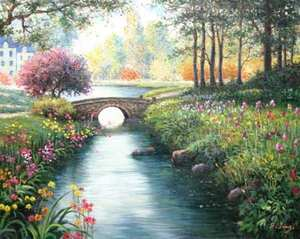 Title: Blossoms By The Stream , Size: 16x20 , Medium: oil painting on canvas