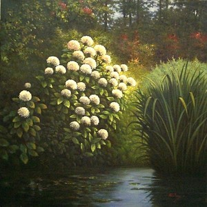 Title: By The Pond , Size: 32x32 , Medium: oil painting
