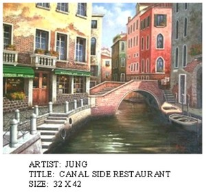Title: Canal Side Resturant , Size: 32x42 , Medium: oil painting