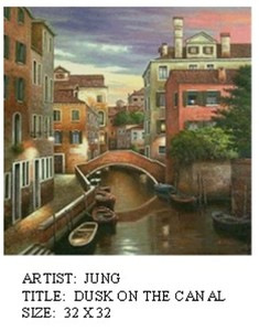 Title: Dusk On the Canal , Size: 32x32 , Medium: oil painting