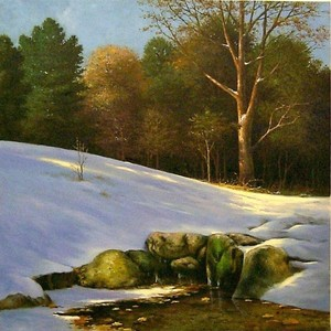 Title: First Snow In The Shenandoah , Medium: oil painting