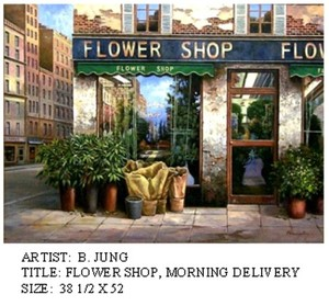 Title: Flower Shop Morning Delivery , Medium: oil painting