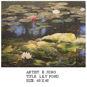 Title: Lily Pond , Medium: oil painting