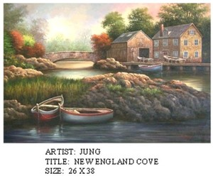 Title: New England Cove , Medium: oil painting