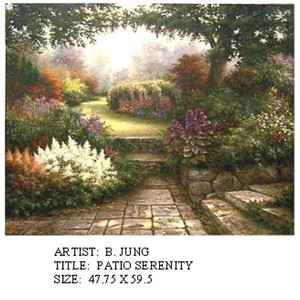 Title: Patio Serenity , Size: 48x60 , Medium: oil painting