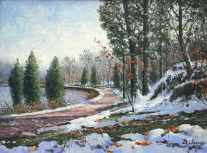 Title: Path On the C&O Canal , Size: 9x12 , Medium: oil painting on canvas