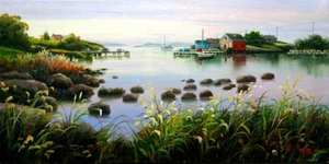 Title: Quiet Cove Afternoon , Size: 12x24 , Medium: oil painting on canvas