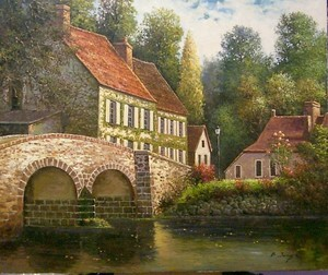 Title: The River by Town, France , Medium: oil painting