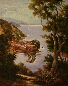 Title: Road to Cinque Terre , Size: 14x11 , Medium: oil painting