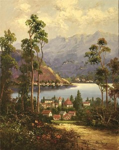 Title: Road to Lake Como , Size: 14x11 , Medium: oil painting
