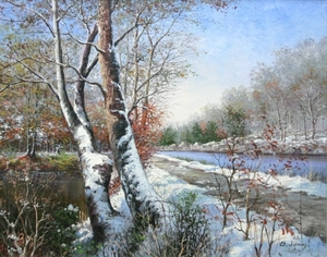 Title: Snow By the Path , Size: 16x20 , Medium: oil painting on canvas
