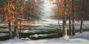 Title: Snow Covered Stream , Size: 18x36 , Medium: oil painting