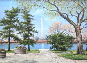 Title: Spring, Washington Monument , Size: 16x22 , Medium: oil painting on canvas