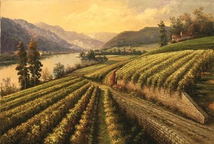 Title: Vineyard by the Lake , Size: 26x38 , Medium: oil painting