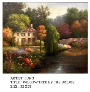 Title: Willow Tree by The Bridge , Medium: oil painting