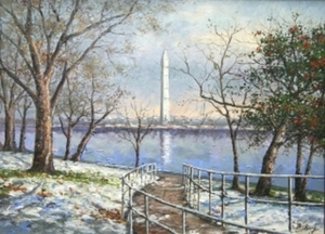 Title: Winter Reflection, Washington Monument , Size: 12x16 , Medium: oil painting on canvas