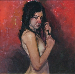 Title: Holding Her Braid , Size: 15x15 , Medium: oil on board