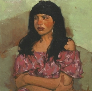 Title: Italian Girl II , Size: 11x11 , Medium: oil on board