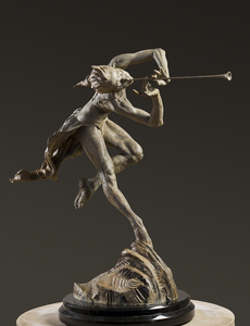 Title: Trumpeter, Draped 1/3 Life , Size: 14x26x27(H) , Medium: bronze sculpture
