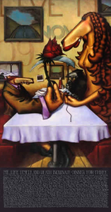 Title: Dinner for 3 , Size: 74x40 , Medium: giclee on canvas