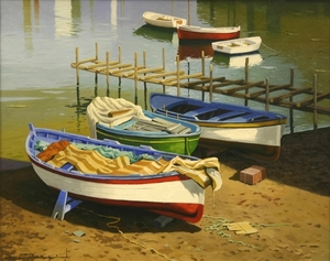 Title: Barcas Tipicas, Sorrento, Italia-16539 , Size: 24x30 , Medium: oil painting