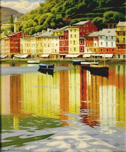 Title: Manana Refejada, Portofino , Size: 26x22 , Medium: oil painting