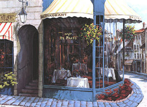 Title: Cafe de Paris(canvas) , Medium: hand-embellished serigraph on linen