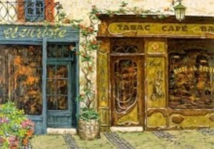 Title: Cafe Tabac (canvas) , Medium: serigraph