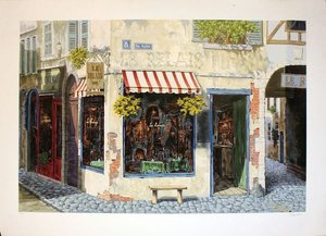 Title: Rue Pascal (canvas) , Medium: hand-embellished serigraph on linen