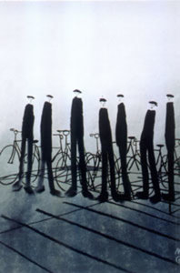 Title: Men With Bikes , Size: 46x34.75 , Medium: serigraph on paper
