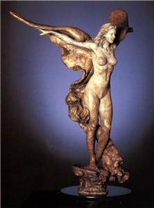 Title: Golden Wings , Size: 20x13x10 , Medium: bronze sculpture