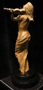 Title: Muse , Size: 26X10X8 , Medium: bronze sculpture