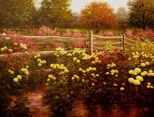 Title: Floral Garden , Size: 32 x 42 , Medium: oil painting
