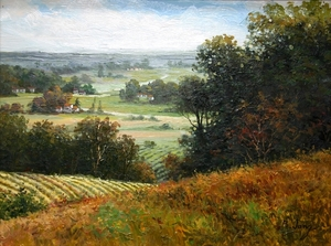Title: Valley View in Autumn , Size: 9 x 12 , Medium: oil painting