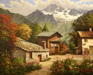 Title: Village in the Mountains , Size: 26 x 32 , Medium: oil painting